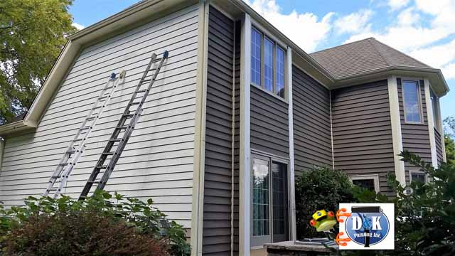 Exterior Paint Before And After Taupe Brick Red Door Black Shutters And Garage Natural Project
